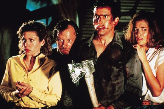 l-r Sarah Berry (Annie), Dan Hicks (Jake), Kassie Wesley (Bobby Joe) and Bruce Campbell (Ash) star in Lionsgate Home Entertainment's Evil Dead II 25th Anniversary Edition.